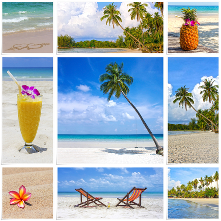 island paradise: Collage of summer tropical beach image. Nature and travel background