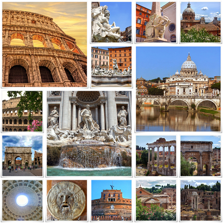 collages: Collage of landmarks of Rome