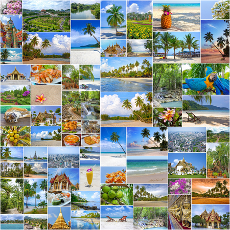 travel background: Collage of travel images from Thailand my photos. Buddhist temples, exotic islands, tropical beaches with white sand and palm trees and a traditional Thai cuisine. Nature and travel background