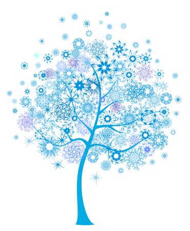 winter tree: Beautiful winter tree with snowflakes. Christmas holiday.