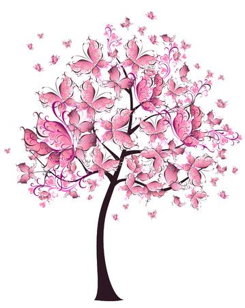 Árbol floral de verano de mariposas volando para su diseño