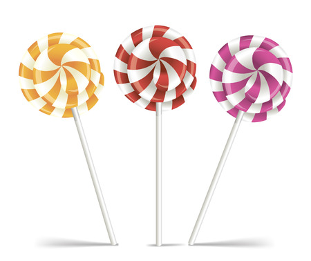hard stuff: Vector colorful lollipops. Spiral candies.