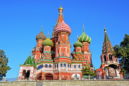 Saint Basil's Cathedral in Red Square, Moscow, Russia. Reklamní fotografie - 53591438
