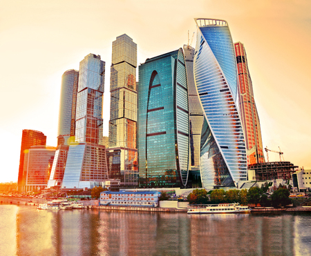 center city: Skyscrapers of Moscow City at evening. Moscow International Business Center - commercial district, Russia