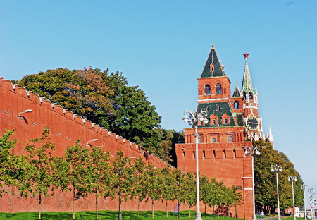 spasskaya: Kremlin wall and Spasskaya Tower of Moscow Kremlin at Red Square in Moscow, Russia