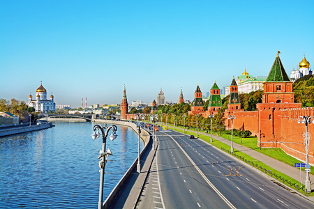 tourism in russia: View on Moscow river and Moscow Kremlin in Moscow, Russia