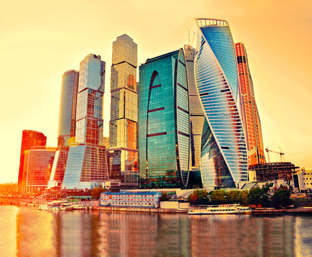 international business: Skyscrapers of Moscow City at evening. Moscow International Business Center - commercial district, Russia. Retro vintage filter
