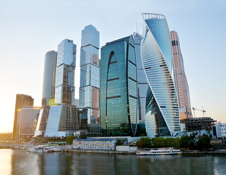 international business center: Skyscrapers of Moscow City at evening. Moscow International Business Center - commercial district, Russia