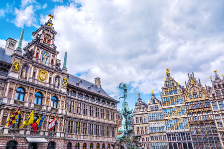 Grote Markt square with famous Statue of Brabo and medieval guild houses in Antwerp, Belgium