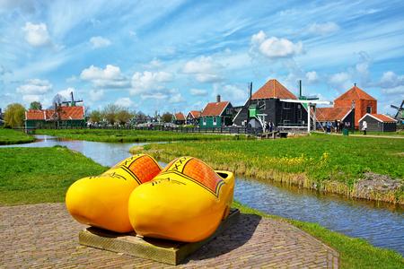 traditional Hollands wooden shoes clogs, symbol of Netherlands in a charming dutch village  Zaanse Schans near Amsterdam