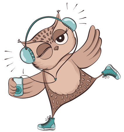listen music: Cute owl with headphones listen music on MP3 player isolated on white. Vector hand drawn illustration