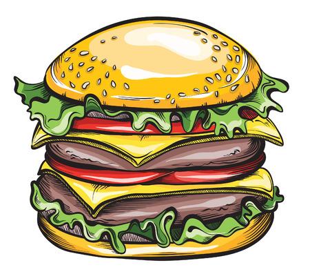 sesame: Hand drawn Cheeseburger or Hamburger. Vector illustration.
