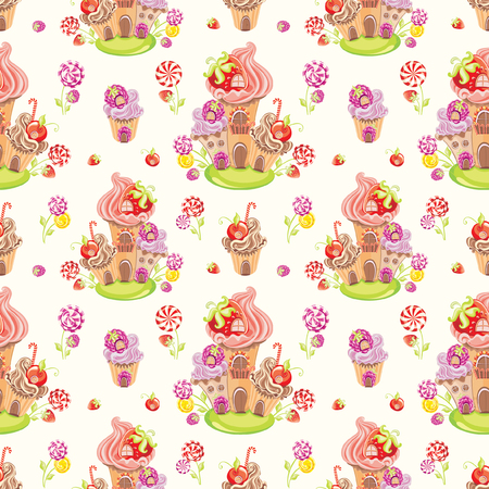sweet background: Seamless wallpaper background with fantasy sweet house with cupcakes, berries and lollipop candies. Vector illustration Illustration