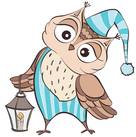 Owl wearing a nightcap and pajamas with a lantern Vector hand drawn illustration