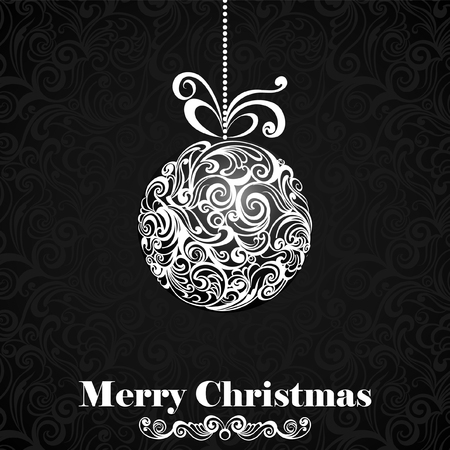 moños de navidad: Christmas balls with bows. Christmas greeting vintage card Vectores