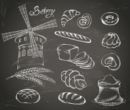 Hand drawn Set of vintage bakery icons on the chalkboard: flour, mill, bread and other pastries. Retro style food design. Vector illustration. 일러스트