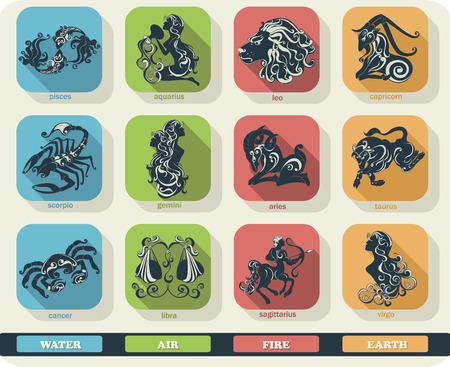 zodiacal signs: Modern flat set icons of zodiac signs with long shadow effect. Vector collection of astrology horoscope symbols.