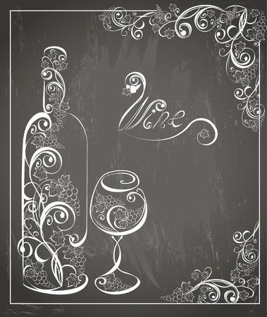 vid: Cartel del vino de la vendimia en fondo de la pizarra. diseño retro tiza. Ilustración del vector.