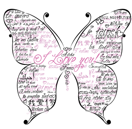 Butterfly silhouette made of calligraphy hand drawn words