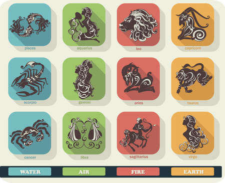 set symbols: Modern flat set icons of zodiac signs with long shadow effect. Vector collection of astrology horoscope symbols.