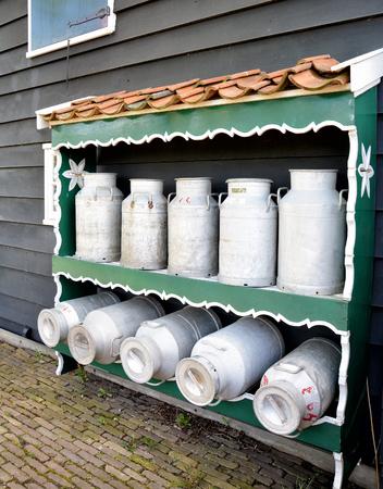 steel. milk: Milk cans in small dairy factory in Zaanse Schans near Amsterdam, Netherlands