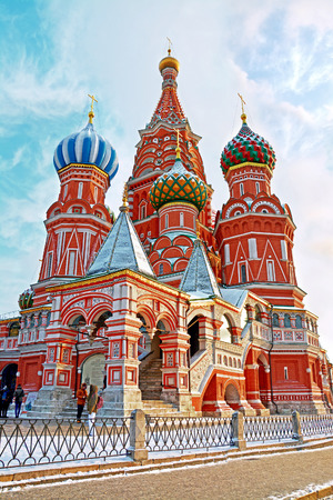 Saint Basils Cathedral in Red Square in winter at sunrise, Moscow, Russia.
