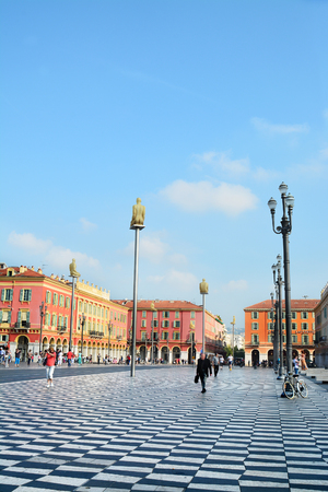NICE, FRANCE - JUNE 3, 2015: Place Massena in Nice, Provence-Alpes-Cote dAzur, France. It is main square of the city and it is used for concerts, holidays and other events Reklamní fotografie