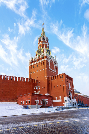 spassky: Spassky  Tower with chimes of Moscow Kremlin on Red square in Moscow, Russia Stock Photo