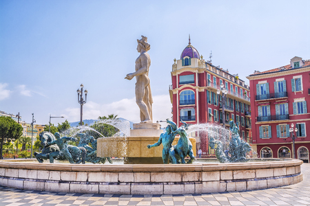 Fountain Soleil on Place Massena in Nice, France Archivio Fotografico