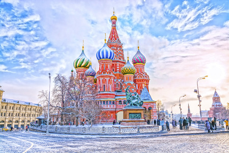 Saint Basils Cathedral in Red Square in winter at sunset, Moscow, Russia.