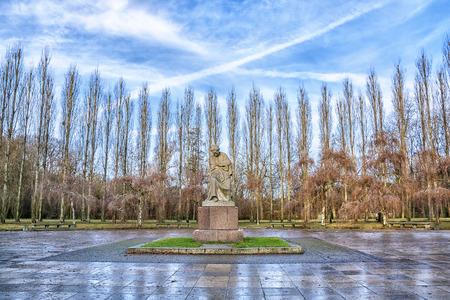 Soviet War Memorial in Treptower Park at sunrise, Berlin, Germany Stock Photo