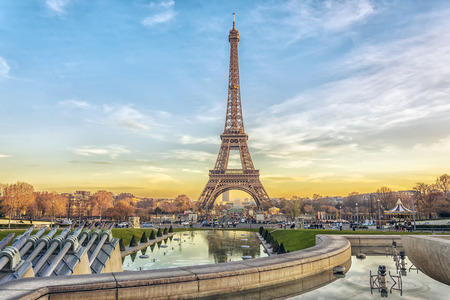 Eiffel Tower at sunset in Paris, France. Romantic travel background Stock fotó - 85956007