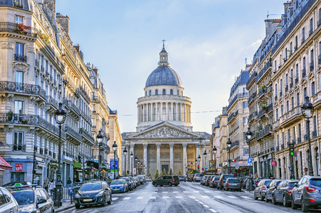 PARIS, FRANCE - DECEMBER 11,2016: Pantheon in the Latin Quarter of the 5th district of Paris, France. Previously, it was the Church of St. Genevieve, now - the tomb of the famous French people. Editorial