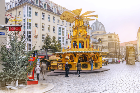christmastime: Dresden, Germany - December 14, 2017: Christmas market in Dresden, Germany.