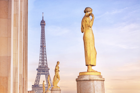 Beautiful view of Eiffel Tower at sunset from the Palais de Chaillot in Paris, France Editorial