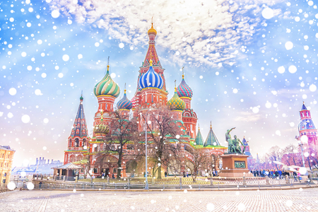 Beautiful view of the St. Basils Cathedral by a snowy winter day on the Red Square in Moscow, Russia.