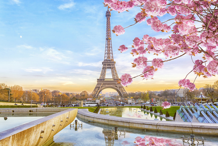 Eiffel Tower in the spring morning in Paris, France. Romantic travel background. 報道画像