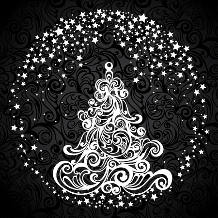 Vintage greeting Christmas card with stylized floral Christmas tree. Vector festive background. Foto de archivo - 109644960