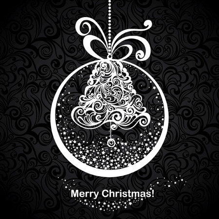 Vintage greeting Christmas card with stylized christmas bells in snow globe. Vector festive background. Foto de archivo - 109644961