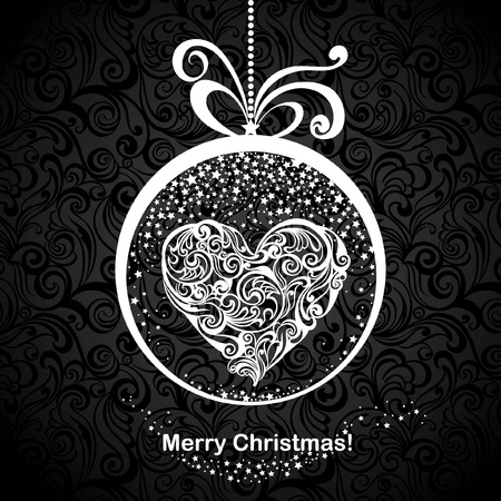 Vintage greeting Christmas card with stylized floral heart in snow globe. Vector festive background. Foto de archivo - 109644962