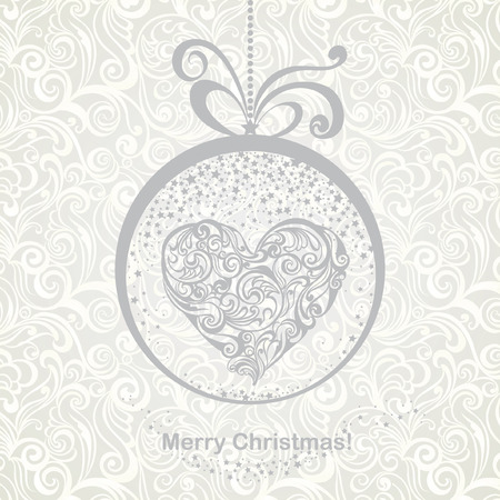 Vintage greeting Christmas card with stylized floral heart in snow globe. Vector festive background. Foto de archivo - 109644964