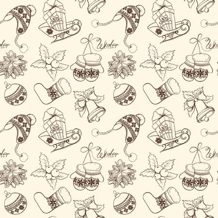 Christmas seamless retro pattern. Vector hand drawn illustration. Foto de archivo - 109644973