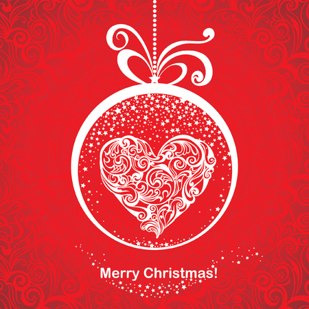 Vintage greeting Christmas card with stylized floral heart in snow globe. Vector festive background. Foto de archivo - 109644977