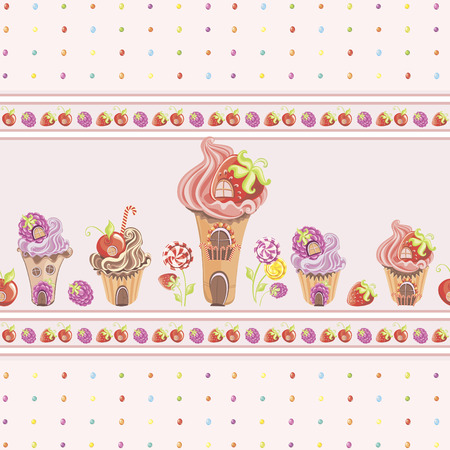 Seamless wallpaper border with fantasy sweet house with cupcakes, berries and lollipop on  polka dot texture pattern with colorful dragee candy. Vector illustration Foto de archivo - 119424920