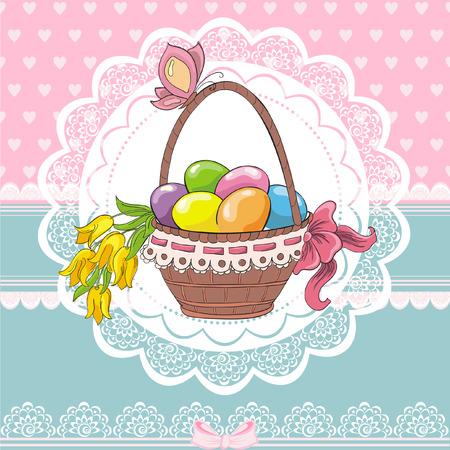 Easter vintage cards with basket and eggs Foto de archivo - 119424940