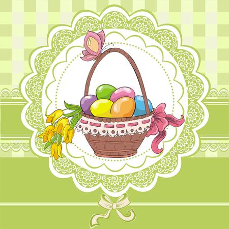 Easter vintage cards with basket and eggs Foto de archivo - 119424950