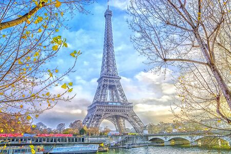 Eiffel Tower in Paris, France. Stock Photo