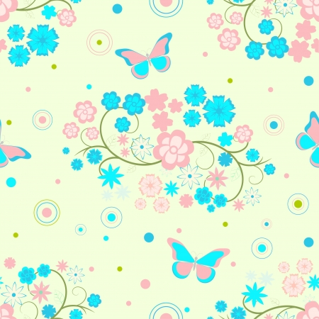 Seamless background with flowers and butterflies Stock Vector - 18497872