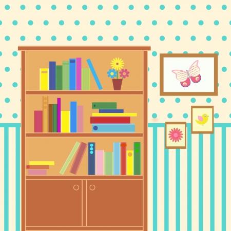 illustration of room with bookcase Ilustração