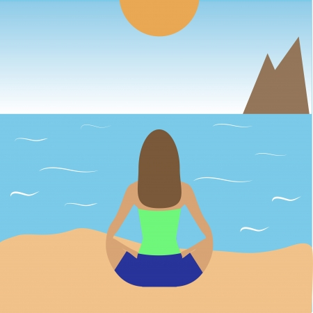 vector illustration of girl practicing yoga on the beach Stock Vector - 18669085